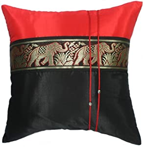 Red Silk Decorative Pillows : Amazon.com: Artiwa Black & Red Silk Decorative Pillow Case Cover for Sofa Couch Bed 16x16 Large ...
