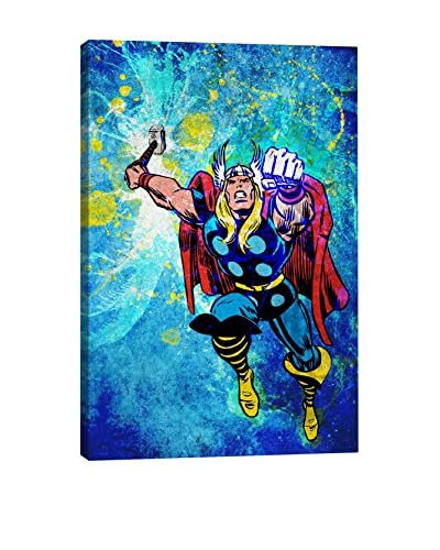 Marvel Comics Gallery Thor In Air Painted Grunge Canvas Print