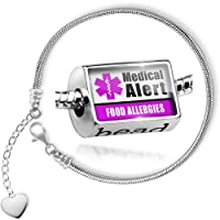 Charm Set Medical Alert Purple Food Allergies - Bead comes with Bracelet , Neonblond by NEONBLOND