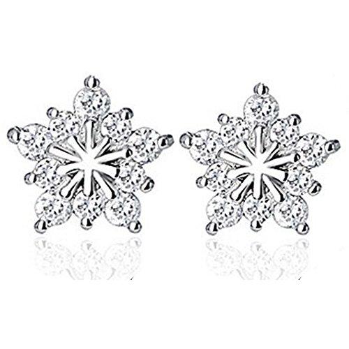 findout signore Swarovski elemento argento AAA grade zircone Super Flash orecchini fiocco di neve .for donne delle ragazze dei bambini. (f1667)