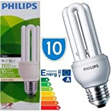 10 x Philips 18w = 80w E27 18 Watt Light Bulbs Edison Screw Genie Low Energy Saver Bulb Lamp Saving CFL Lamps Direct Incandescent Replacement Long Life 10,000 hours