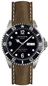 Oxygen Moby Dick 40 Unisex Quartz Watch with Black Dial Analogue Display and Brown Leather Strap EX-D-MOB-40-CL-DB