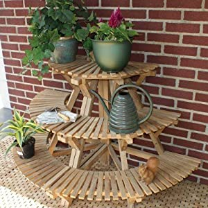 Amazoncom Plant Stand Corner Unit In Teak Outdoor