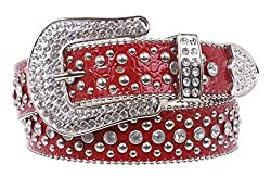 Ladies Rhinestone Studs Croco Print Leather Belt Color: Red Size: L/XL - 39