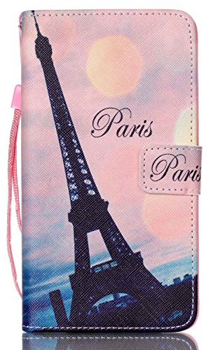 Samsung Galaxy Note 4 Case with Wallet Function / Stand / Short Lanyard / Credit Card Holder / Magnetic Snap Front and Back Folio Cover AIYZE PU Leather Color Print ( black Paris Eiffel Tower ) (Front And Back Case For Note 4 compare prices)