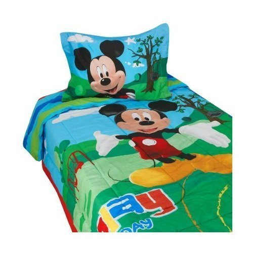 Disney Mickey Mouse Clubhouse Twin Size Comforter, Bed Skirt, and Sham