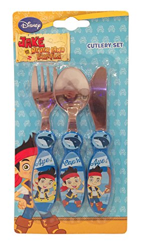 Disney Jake Adventure subacquea in acciaio INOX-Set di posate in metallo, Set da 3, multicolore