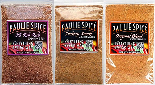 Paulie Spice : BBQ Seasoning And Rub Trio Set (3 Flavors) : Sweet And Smoky Rib Rub : Sweet Hickory Smoke : Original Blend : Amazing On Ribs, Pork, Prime Rib, Steak, Chicken, Fish And Seafood : 24 Oz