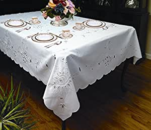 """Rivierra Embroidered Design Tablecloth White 70"""" by 120"""" Oblong / Rectangle"""