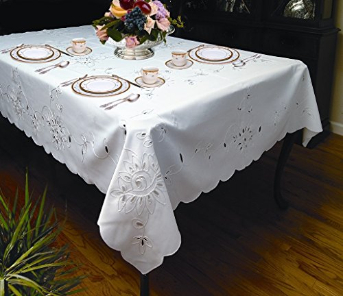 Rivierra Embroidered Design Tablecloth White 70