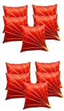 Car Vastra Leaves Patch Red & Blue Cushion Cover Set of 10 (16x16 Inches)
