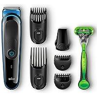 Braun MGK3040 7-in-1 Hair / Beard Trimmer for Men + Gillette Body Razor (Black)