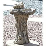 Garden Bird Bath - Twin Feeder Stone Birdbath