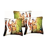 Car Vastra Digital Print Indian Woman-III Cushion Covers -Set Of 3 (12x12 Inches)