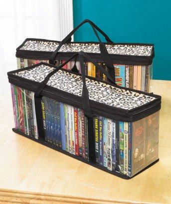 DVD Storage Organizer Leopard Classic Set Of 2 Storage Bags With