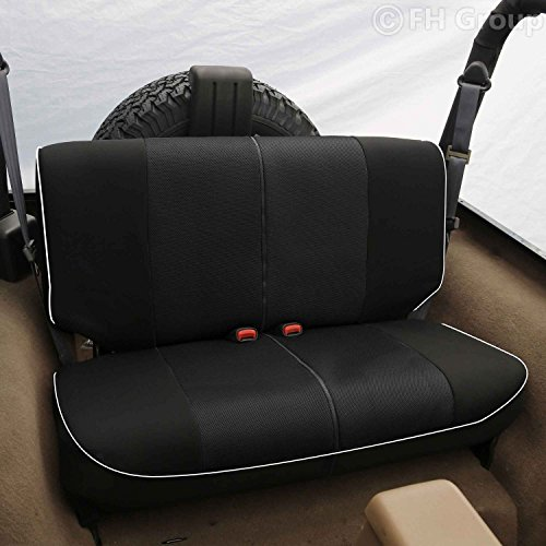 FH GROUP FH-FB063010S2 Cloth Car Bench Seat Covers with Piping Rear Set for Jeep Wrangler Black (Car Bench Seat Cover Automobile compare prices)