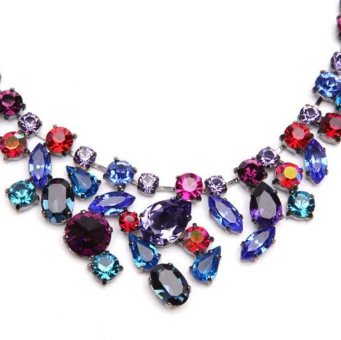 Swarovski Crystal Necklace Abstract Necklace-in-Multi / Multi Coloured Necklace Made with Swarovski Crystals by Kish Vasa (Krystal London) - Only 5 in Stock