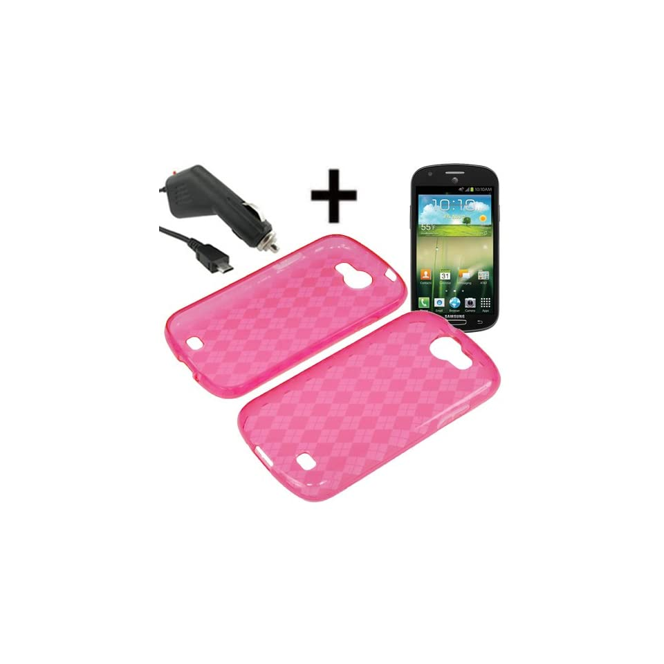 BW TPU Sleeve Gel Cover Skin Case for AT&T Samsung Galaxy Express i437 + Car Charger Pink Checker Cell Phones & Accessories