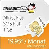 DeutschlandSIM Flat L 1000 [SIM und Micro-SIM] monatlich kündbar (1 GB Daten-Flat mit max. 14,4 MBit/s, Telefonie-Flat, SMS-Flat, 19,95 Euro/Monat) O2-Netz