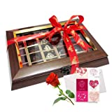 Valentine Chocholik's Belgium Chocolates - Passionate Chocolate Box With Love Card And Rose