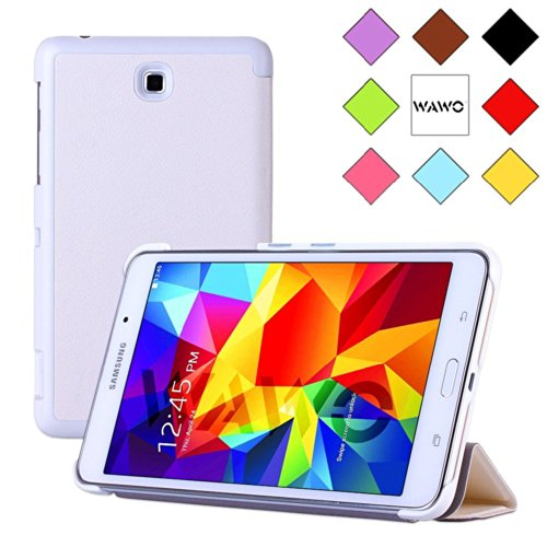 Wawo Creative Tri-Fold Cover Case For Samsung Galaxy Tab 4 7.0 Inch Tablet - White front-997845