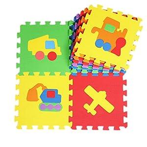 V-SOL Alfombra Tipo Puzzle De Juego Para Niños Bebé Diseño Transporte - 30*30*1cm / 10pcs