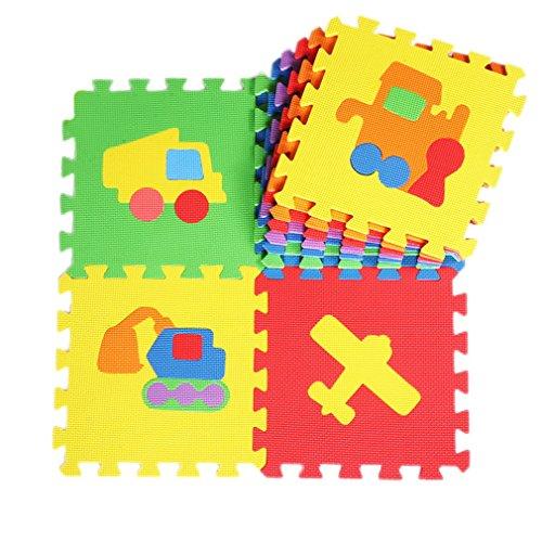 La vogue 10tlg. Spielmatte Kinderteppich Puzzlematte Schaumstoffmatte Matte Auto Flugzeug