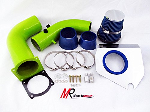 94 95 96 97 98 Ford Mustang 3.8L V6 Green Piping Cold Air Intake System Kit with Blue Filter (Short Ram Air Intake Pipe compare prices)