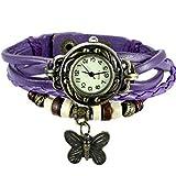 Shopizone Fancy Vintage Retro Butterfly Watch for Women - Purple