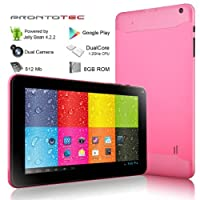 ProntoTec 9 Inch Capacitive Touch Screen Tablet Pc, Allwinner A20 Cortex A9 Dual Core 1.5 Ghz, Android 4.1, 8GB NAND Flash, DDR3 512MB RAM, Dual Cameras, Wi-fi, G-sensor (Pink) by Pronto Tec