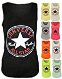 NEW WOMEN LADIES CONVERSE ALL STAR LOGO PRINT VEST TOP LADIES VESTS UK SIZE 8-14