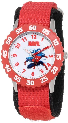 Marvel Comics Kids' W000308 Marvel Spider-Man Stainless Steel Time Teacher Red Bezel Red Velcro Strap Watch back-971177