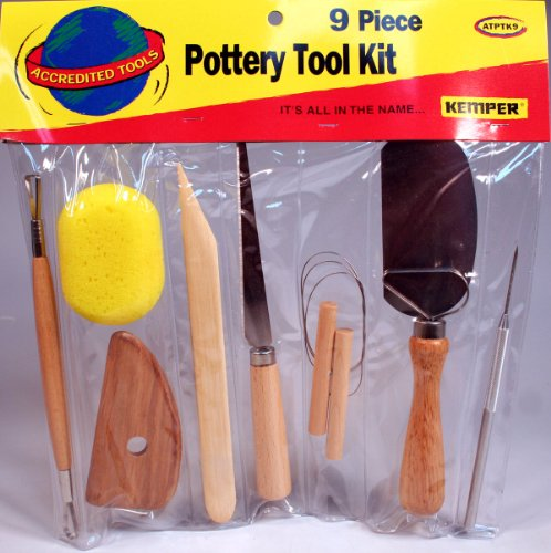 Kemper 9 Pc Pottery Tool Set w/ Fettling Knife for Ceramic, Polymer Clay #ATPTK9