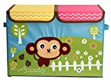 UberLyfe Foldable Kids Storage Box Organizer- Double Flap - Large (Cheeky Monkey)