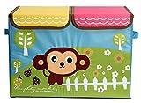 UberLyfe Foldable Kids Storage Box Organizer- Double Flap - Large (Cheeky Monkey)