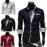 メンズ 胸元 ストライプ カジュアル シャツ 長袖 スリム 細身 きれい目 パーティー ドレスシャツ (ブラック XL)