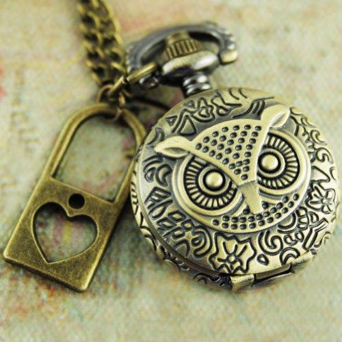 Steampunk Pocket Watch Necklace Pirate Gothic Victorian Locket Pendant Charm owl with Vintage Lock SET