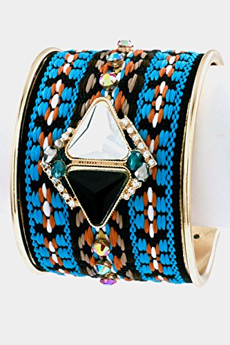 Pattern Braid Cord with Crystal Accent Cuff Bracelet- Arm Cuff Jewelry for Women