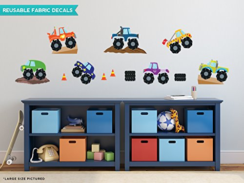 Sunny Decals Monster Trucks Fabric Wall Decals (Set of 7), Large