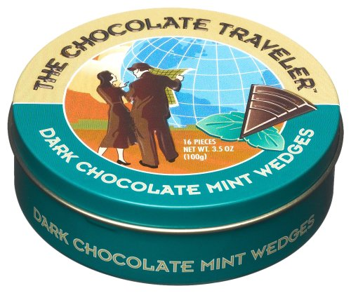 The Chocolate Traveler Dark Chocolate Mint Wedges, 3.5-Ounce Tins (Pack of 6)