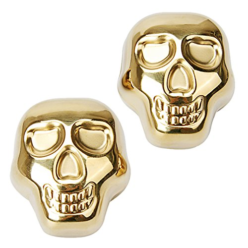 Large Gold Skull Head Stainless Steel Set of 2 Whiskey Stones Ice Cube Wine Chiller Reusable for Cooling Whisky Champagne Soda Juice Drink Cold, Gift with Storage Pouch