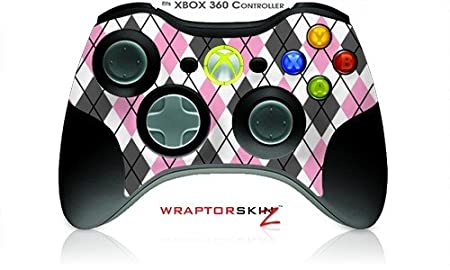 XBOX 360 Wireless Controller Decal Style Skin - Argyle Pink and Gray (Controller Not Included)