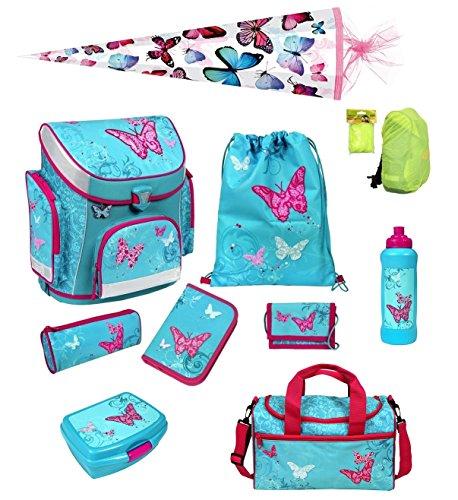 Scooli Butterfly Schulranzen Set 10tlg. Dose, Flasche, Sporttasche und Schultüte 85cm BUKR8251
