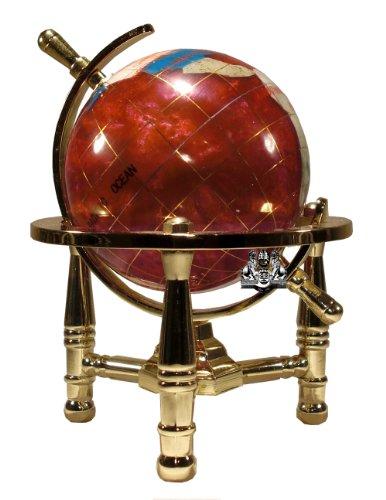Imagen de Unique Art 6-pulgadas Tall Pink Swirl Rubilite Ocean Pearl Mini Tabla Gemstone Globe World Top con Trípode de Oro
