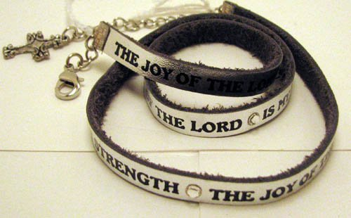 His Hands Bracelets LB007S The Joy of The Lord Silver Leather Wrap Braclet