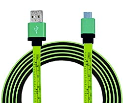 Parallel Universe Flat Tangle Free [4 Feet long] Micro USB cable with Ruler Scale ( in CM and Inch) - Lush Green