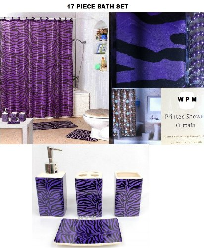 17 Piece Bath Accessory Set Purple Zebra Shower Curtain with ...