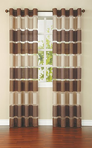 United Linens - 1 Piece window curtains faux silk with organza Window treatments for kitchen and drapes for living room and bedroom panels grommet (brown)