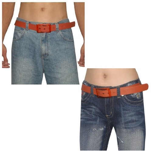 Unisex, Thick, Plastic Belt with Matching Detachable Buckle Brown, One Size