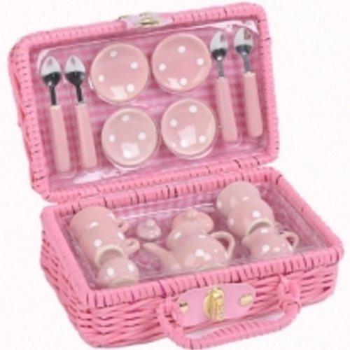 Girls Pink Polka Dot 17 Piece Tea Set
